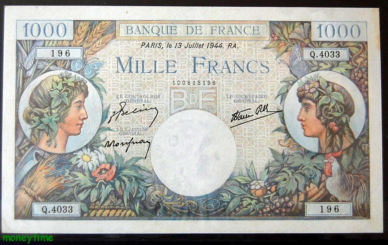 1000 francs type Commerce et Industrie du 13-7-1944