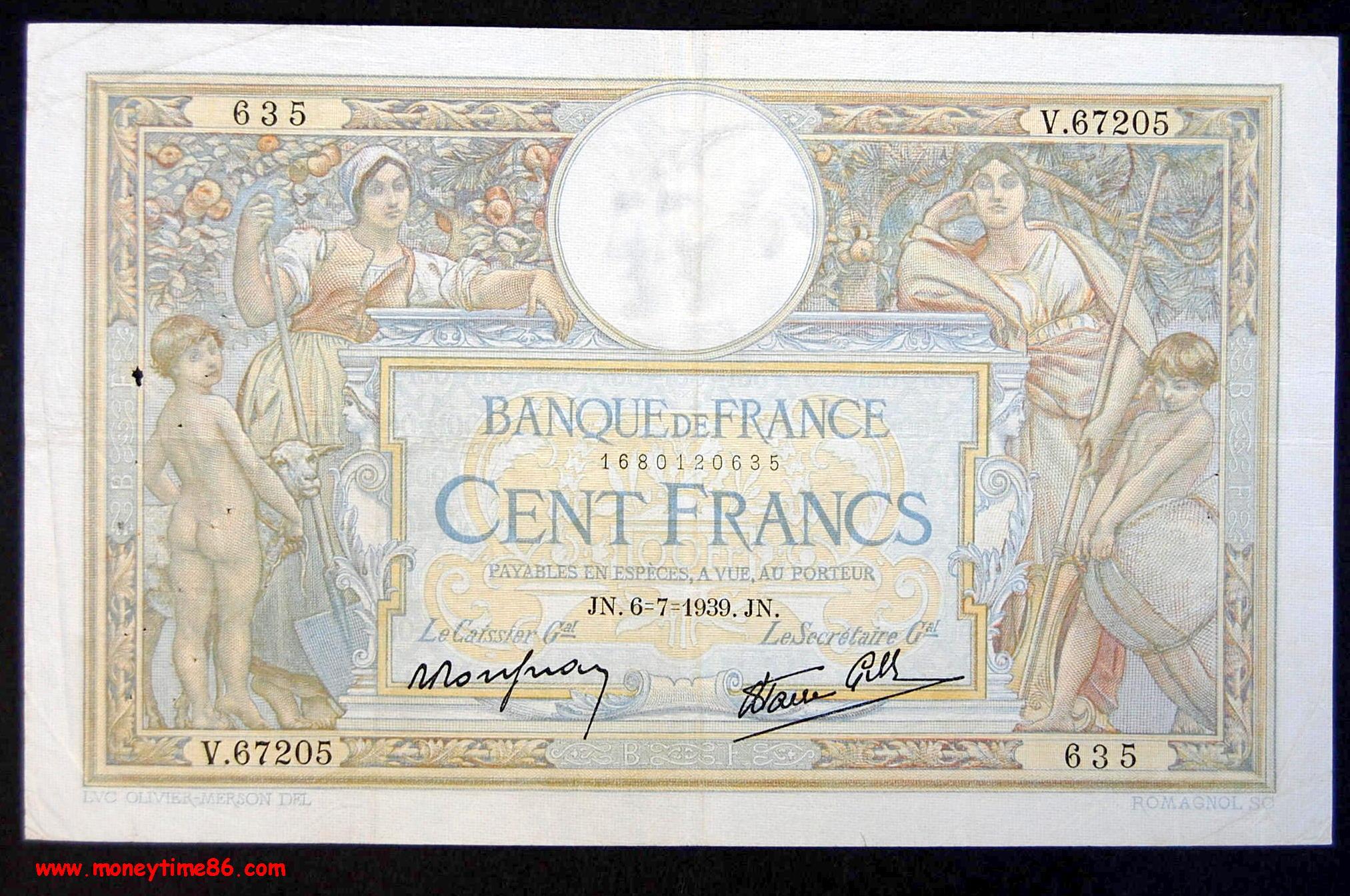 100 francs type L.O Merson  du  6-7-1939