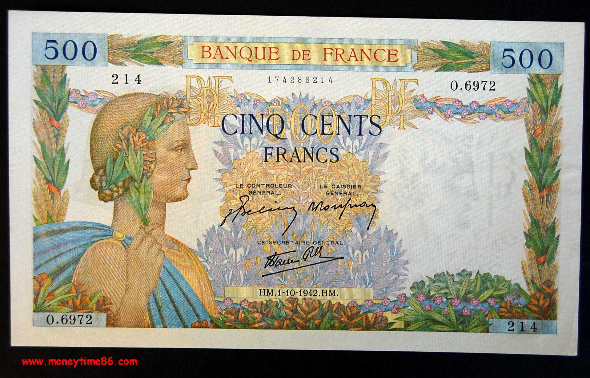 500  francs La Paix du 1-10-1942 en SPLENDIDE