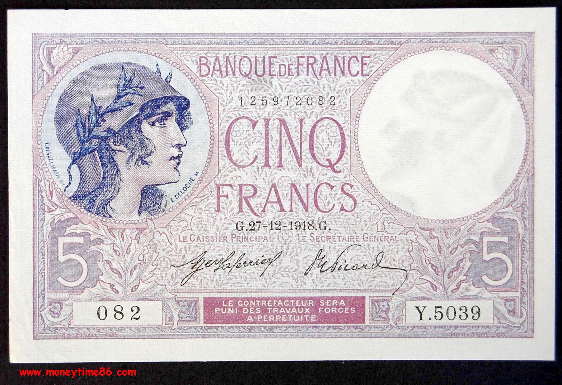 5 francs Violet du 27-12-1918
