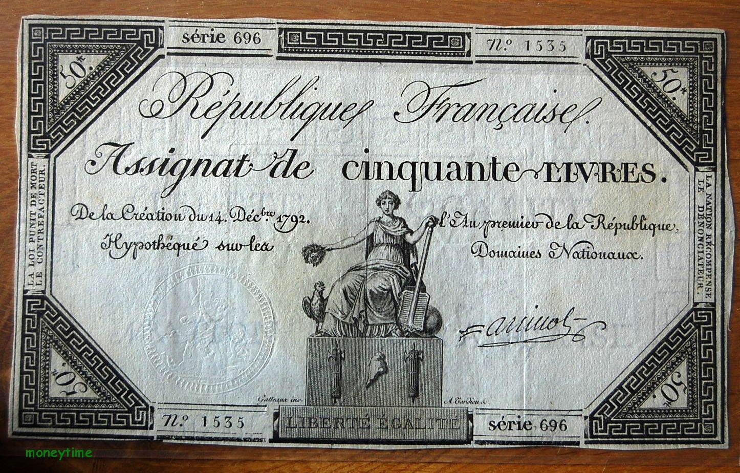 Assignat de 50 livres  du 14  décembre 1792