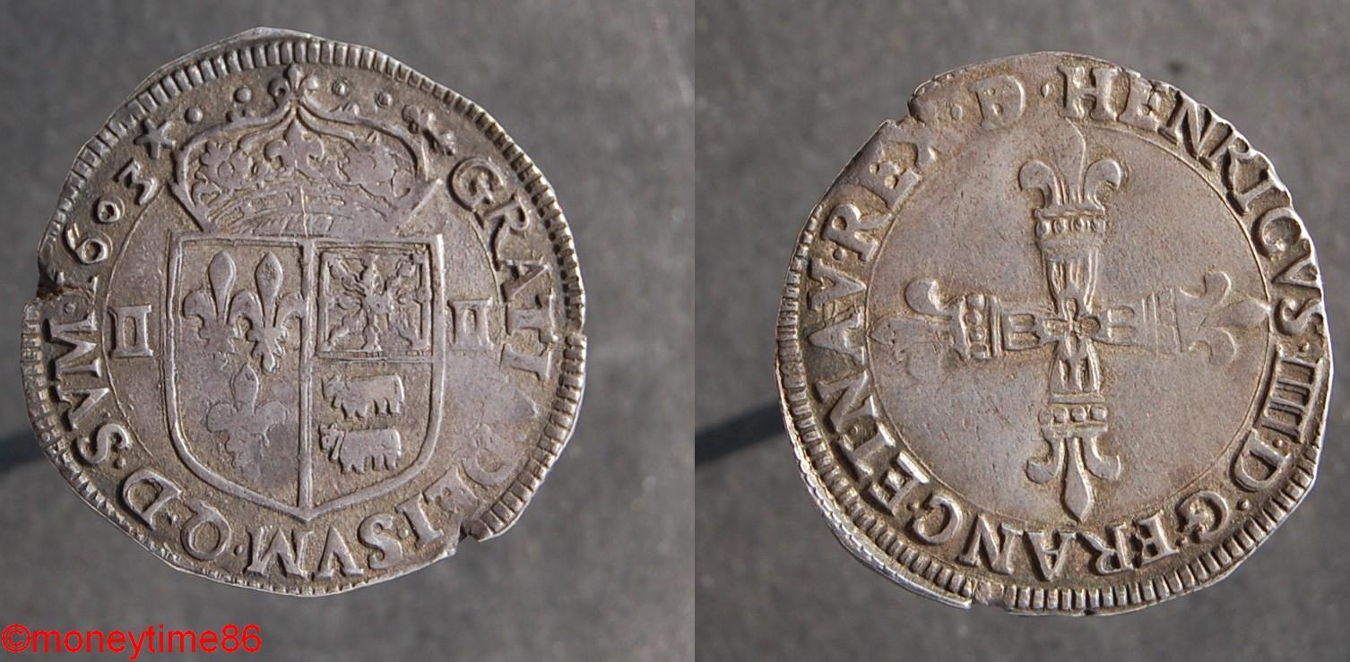 Henri IV Quart d'écu du Béarn 1603, Morlaas