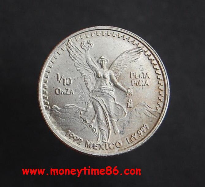 MEXIQUE , 1/10e d'once d'argent pur 1992