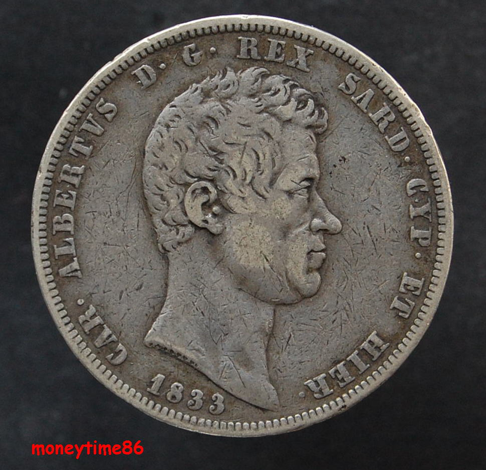 Sardaigne ; 5  lire 1833 P
